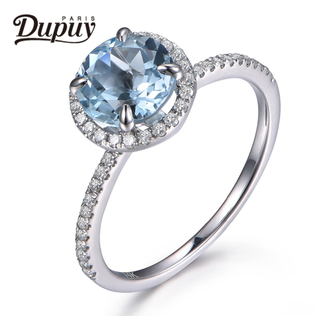 DUPUY 2018 New VS 7mm Round Cut Natural Aquamarine Ring 14K White Gold Ring Gemstone Ring March Birthstone Ring Jewelry F0005AQ