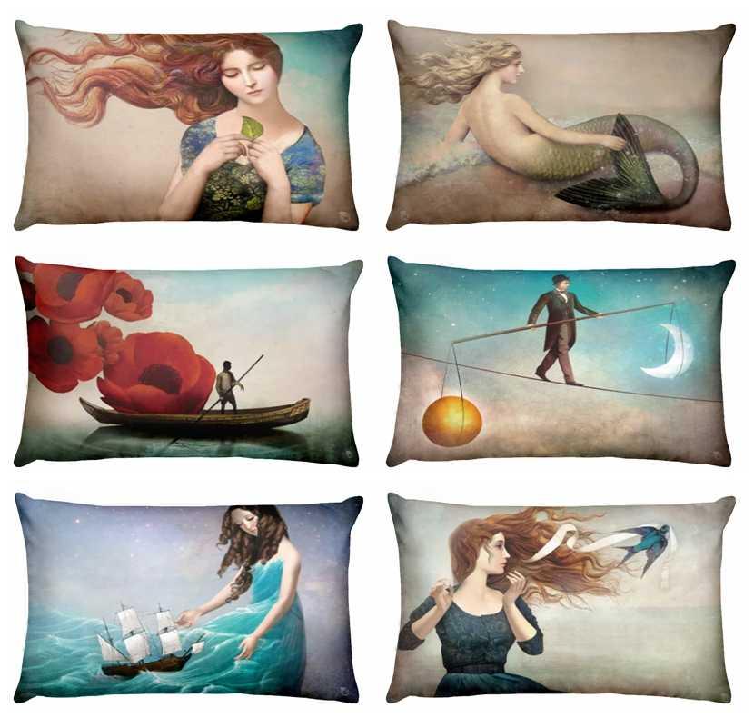 บ้านหมอนตกแต่ง Mermaid Girl พิมพ์เอวหมอนเบาะตกแต่ง Nordic Fairy Tale Almofadas Decorativas 50*30 ซม.