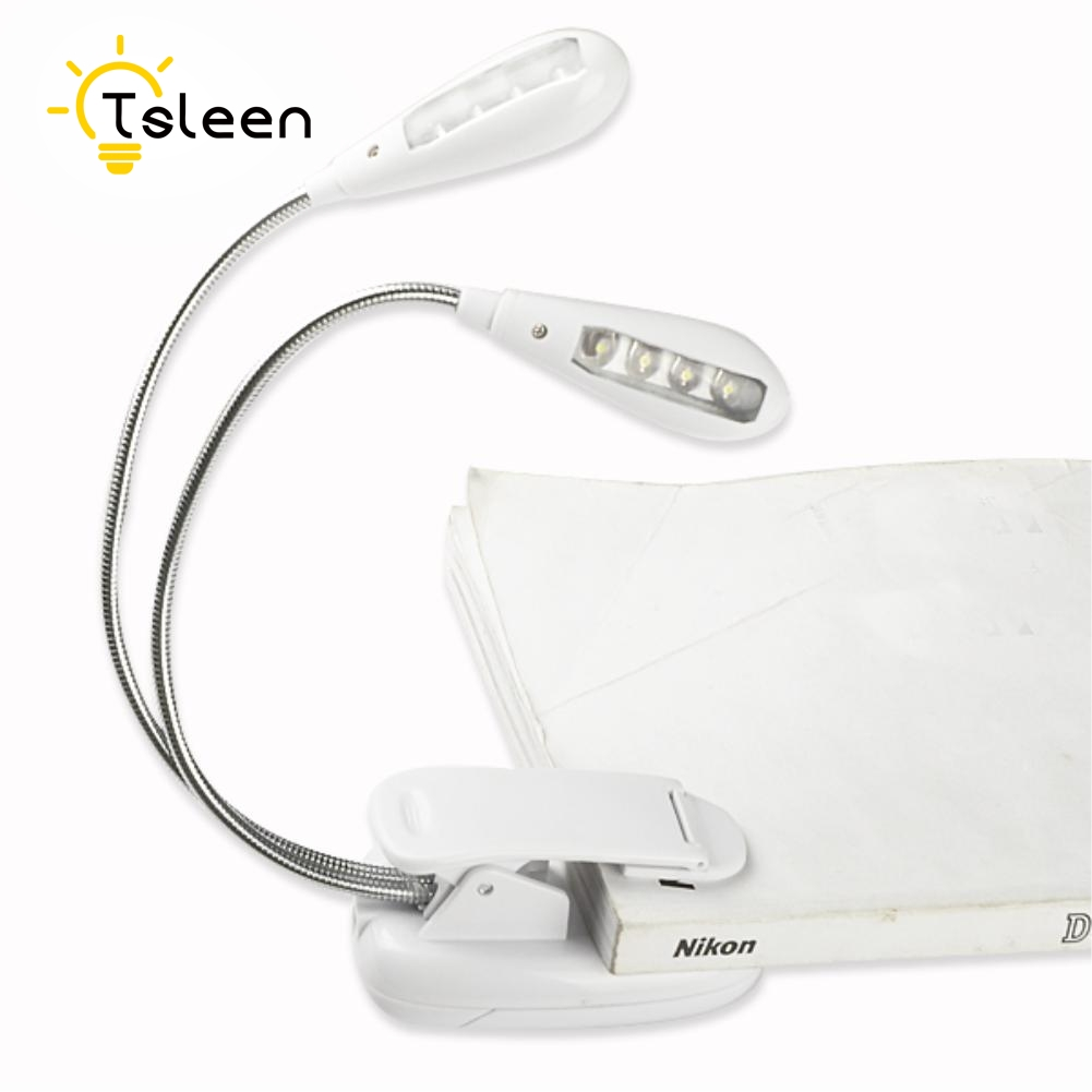 TSLEEN Factory Price Flexible Arm LED Clip Camping Light On Bed Book Reading Desk Laptop Stand Lamp Single Double Heads