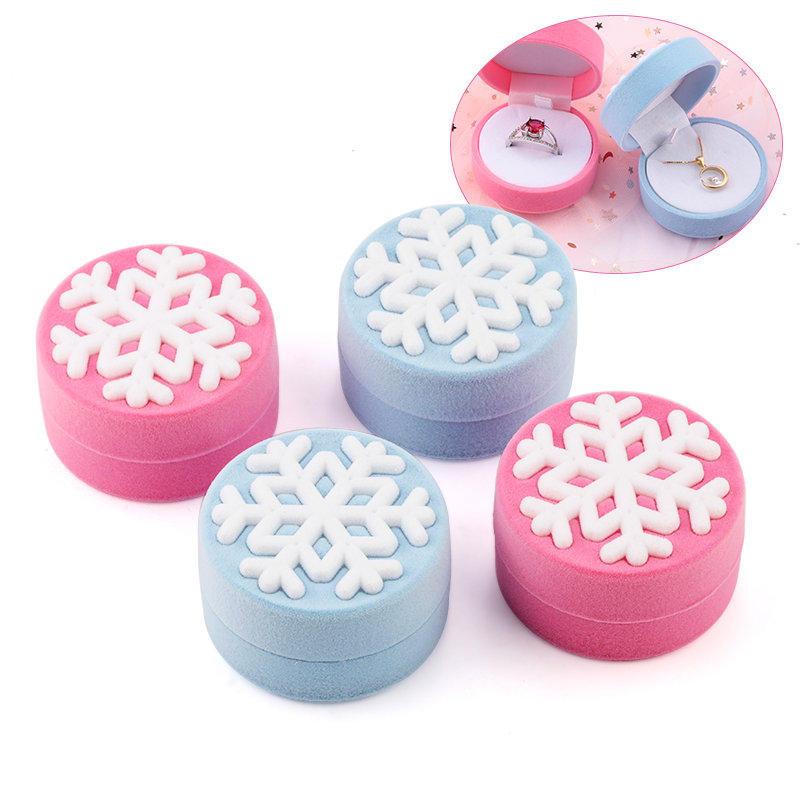 1 Piece Pink/Blue Snowflake Jewelry Box Velvet Wedding Ring Box Necklace Display Box Gift Container Case For Jewelry Packaging