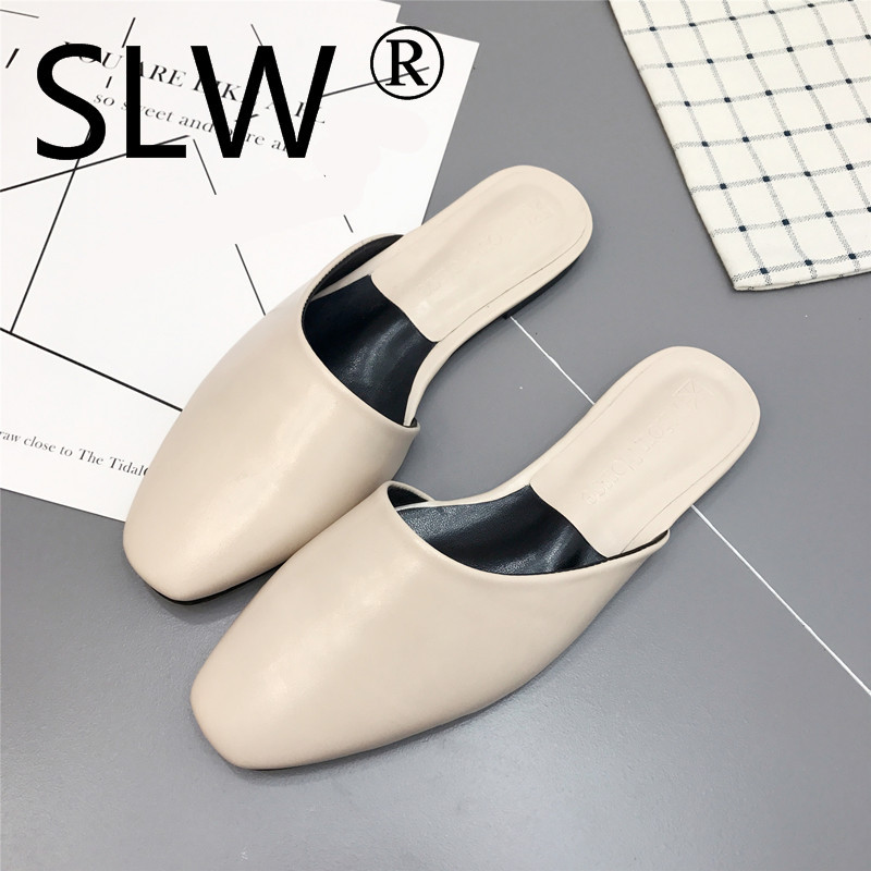 flat heel closed toe slides spring summer new square toe mules woman shallow mouth shoes 2019 ladies flip flops brand design