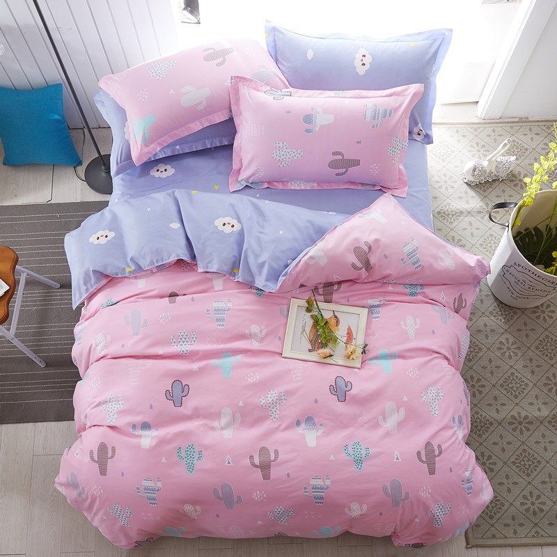 Pillowcase Cactus Bedding-Set Duvet-Cover Bed-Linen Flat-Sheet Queen King Girl Fashion