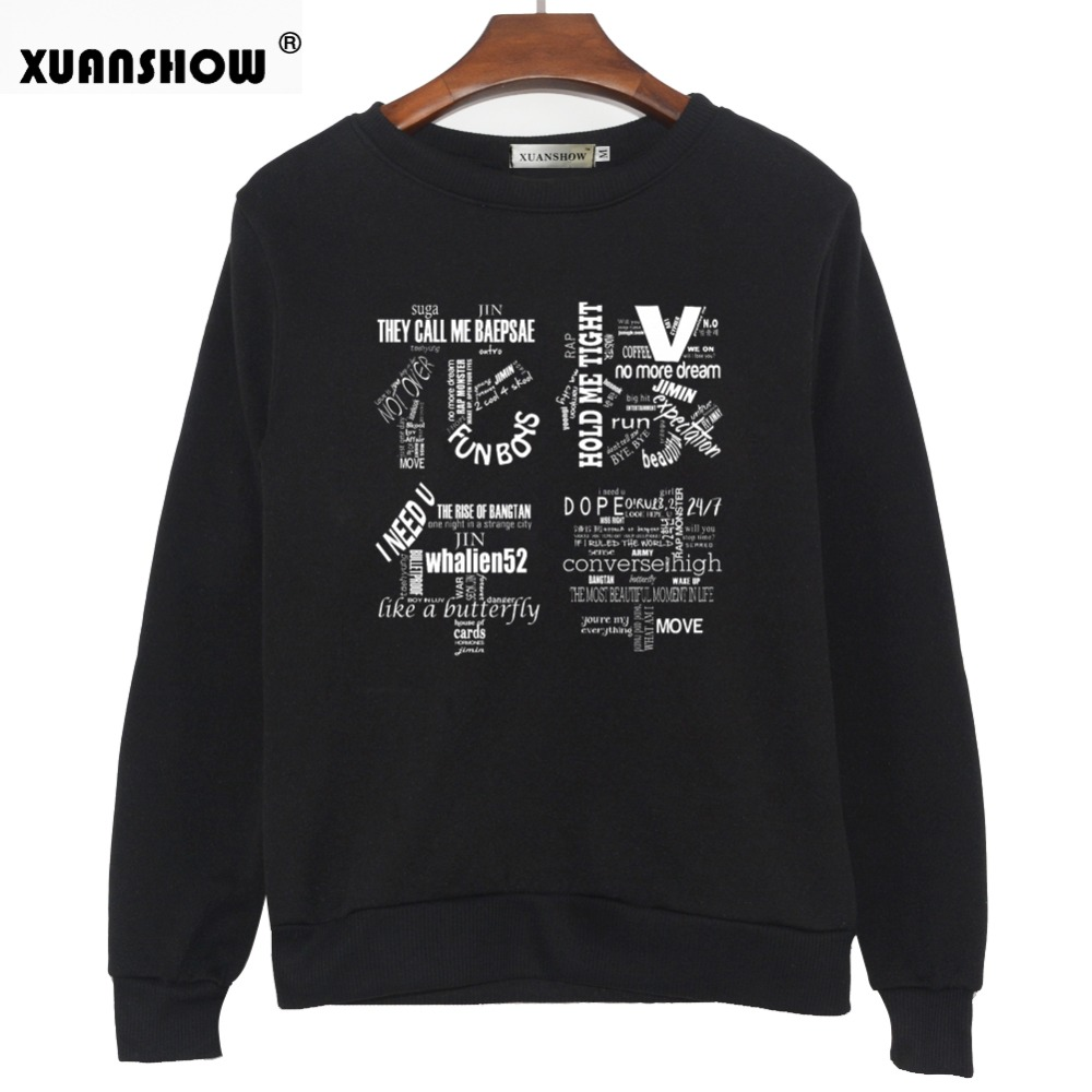 XUANSHOW 2018 Women Bangtan Boys Album Fans Clothing Gray White Black Color Casual Letters Printed Tops bts Hoodie Clothes Bluzy 1