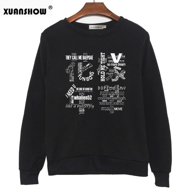 XUANSHOW 2018 Women Bangtan Boys Album Fans Clothing Gray White Black Color Casual Letters Printed Tops bts Hoodie Clothes Bluzy 1