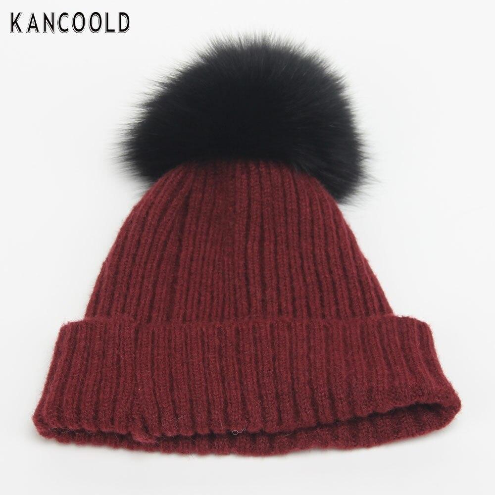 New Design 2016 Hot Sale  Women  Crochet Hat Fur Wool Knit Beanie Fox Hair Warm   Winter Cap    Dec23 send in 2 days rwby letter hot sale wool beanie female winter hat men