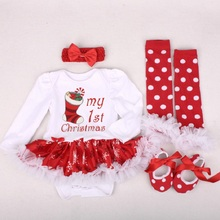 Baby Girl Clothes Newborn Baby Romper My First Christmas Long Sleeve Lace Romper Dress Bebes Xmas Party Cosplay Gifts 3-6-12-24M цена в Москве и Питере