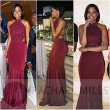 Burgundy African Mermaid Prom Dresses 2019 Vestidos De Fiesta De Noche Black Girl Women Occasion Evening Dress Formal Gowns 2019 women chiffon prom dresses off shoulder formal party gowns vestidos de fiesta de noche