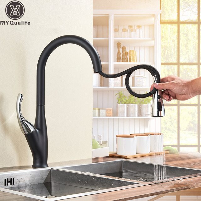 Black Chrome Pull Out Kitchen Sprayer Faucet Deck Mounted Pull Down