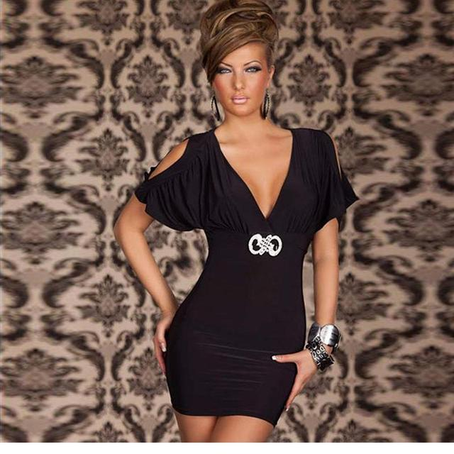 4b11eb028345 Fashion Mini Casual Short Sexy Bodycon Cutout V-neck Mini Black White  Summer Style Designer Robe Dresses W203454