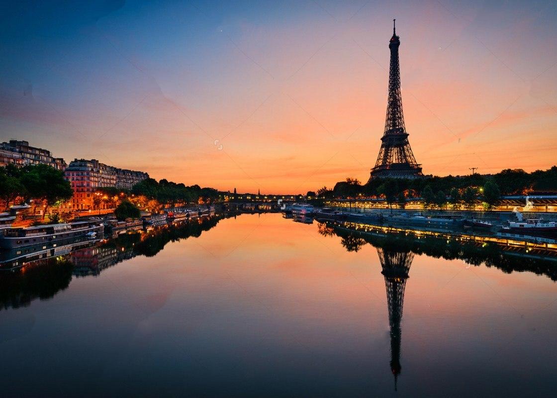 купить Sunrise Eiffel Tower Paris france River City Themed photo backdrop Vinyl cloth Computer print wall Background недорого