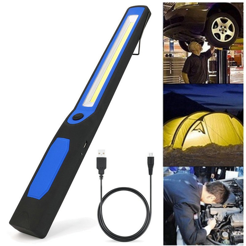 2 in 1 USB Rechargeable LED COB Camping Tent Lamp Work Inspect Light Torch Magnetic 3W Built-in 14500 Battery 28.5CM Flashlights