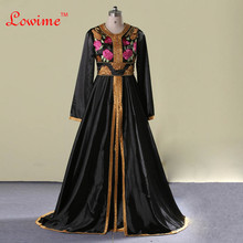 Fromal Dress Saudi Arabic Abaya Embroidery Evening Dresses Long Sleeves Galajurk Dubai Kaftans Giltter Turkey Formal Prom Party