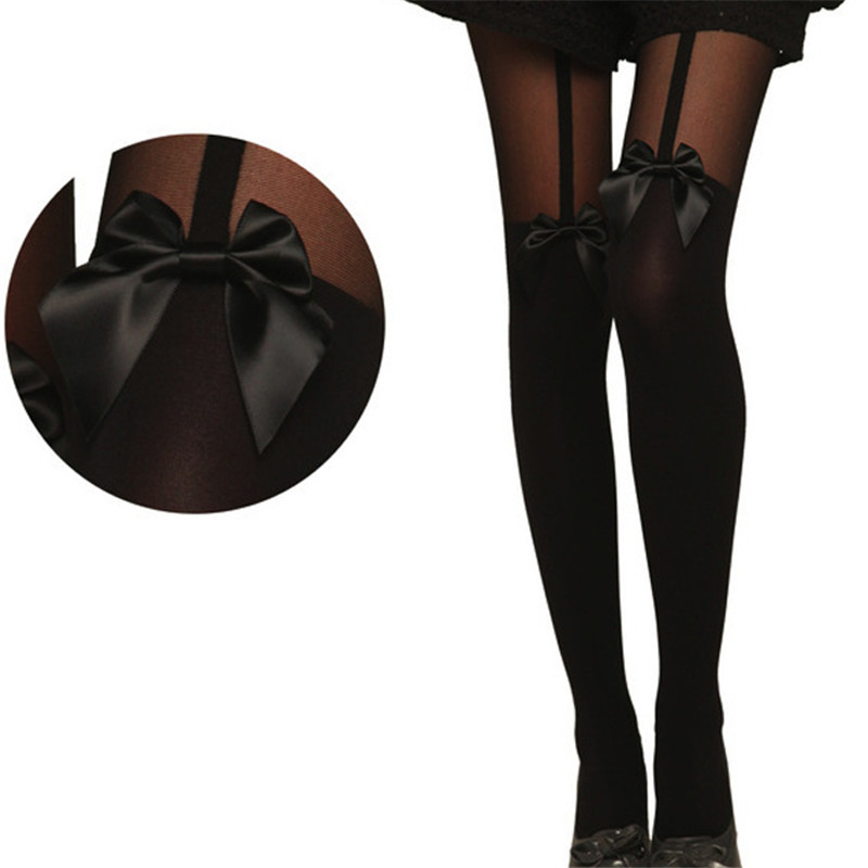 Ladies Special !Sexy Black Color Lady Women Vintage Tights Bow Pantyhose Tattoo Mock Bow Suspender Sheer Stockings Free Shipping