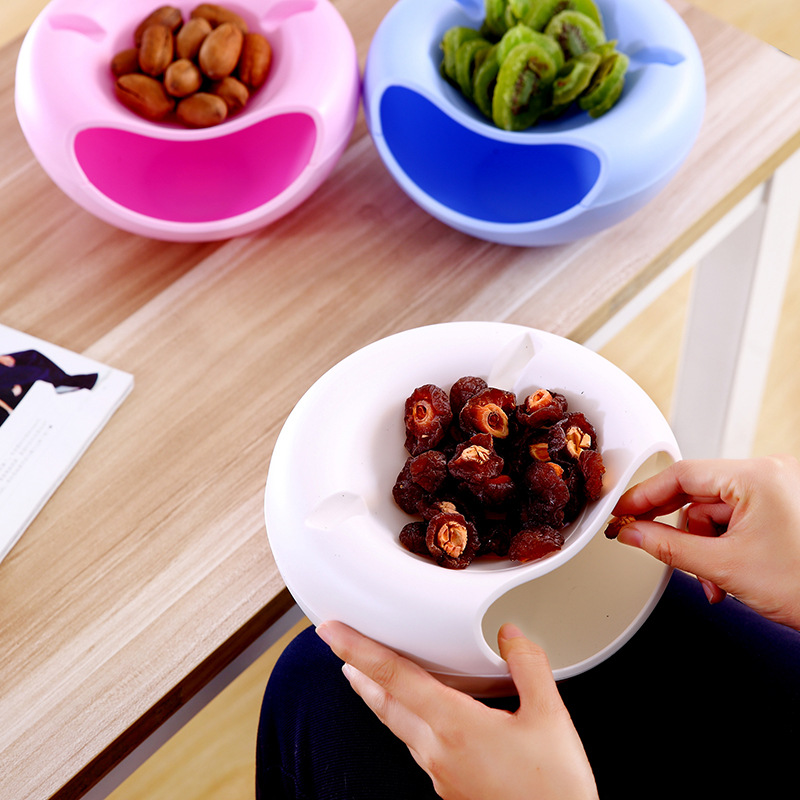 Image 4 - Creative Shape  Plastic Fruit Dish Snacks Nut Melon Seeds Bowl Double Layer Plastic Candy Plate Peels With Phone Holder For TV-in Storage Boxes & Bins from Home & Garden