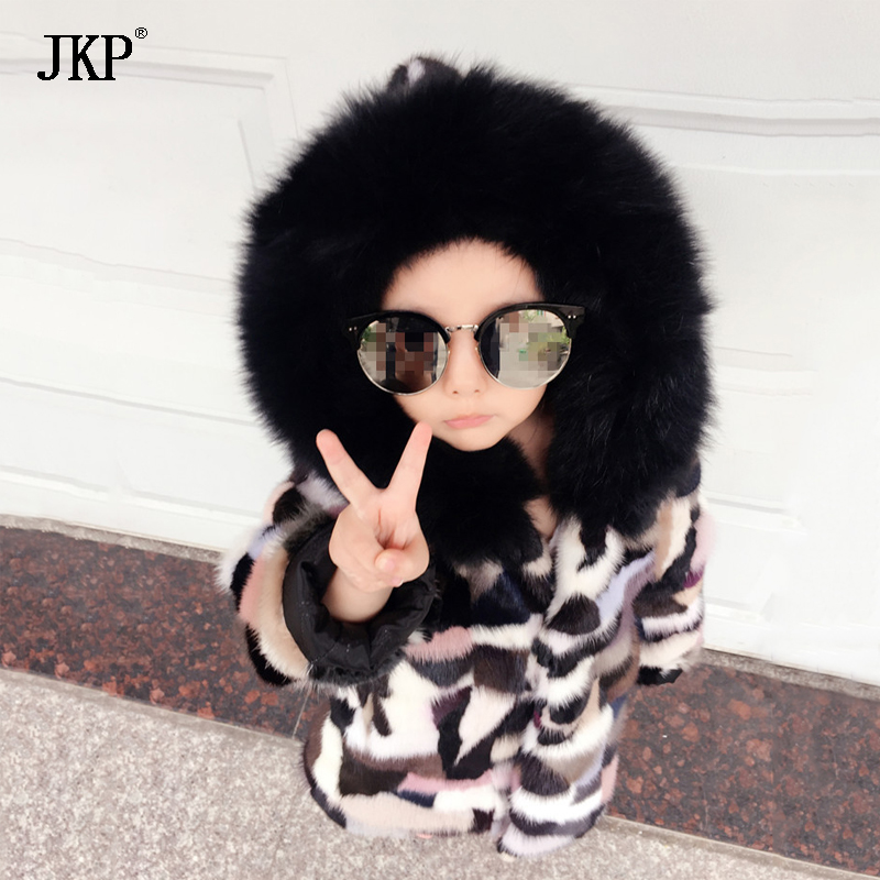 Winter Children Real Mink Fur Coat Natural Kids Mink Patchwork Coat Warm Colourful Mink fur Jackets Baby Girls Boys Clothing