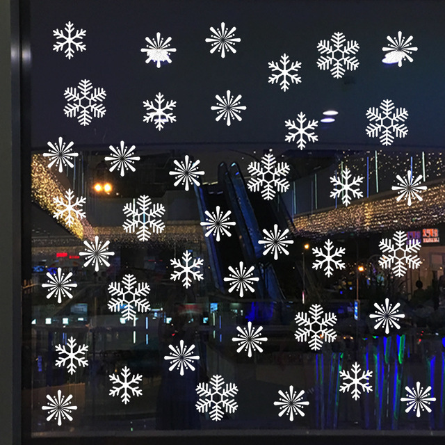 38 Pieces Snowflake Electrostatic Sticker Window Decoration for Kids Room Christmas Wall Stickers Home Decals New Year Wallpaper 3