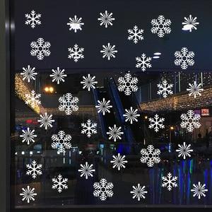 Image 4 - 38 sztuk/partia snowflake naklejki elektrostatyczne okno dzieci pokój boże narodzenie naklejki ścienne naklejki do domu dekoracje nowy rok tapety