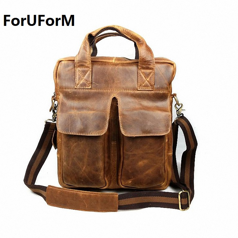 man vertical genuine leather bag men messenger commercial men's 13 inch laptop briefcase designer handbags shoulder bags LI-819