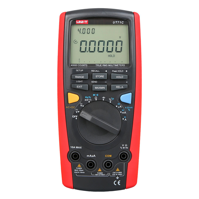 Multimètre UNI-T UT71C multimètre numérique gamme automatique AC DC volts ampères ohms capacité multimètre véritable rms unité multimètre testeur