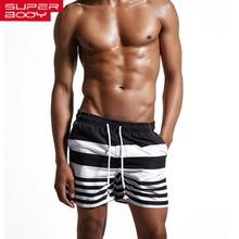 striped black blue Shorts Men Swimwear men Swimsuit boxer Man Bathing Suit swimming suit Trunks Beach Wear maillot de bain 417