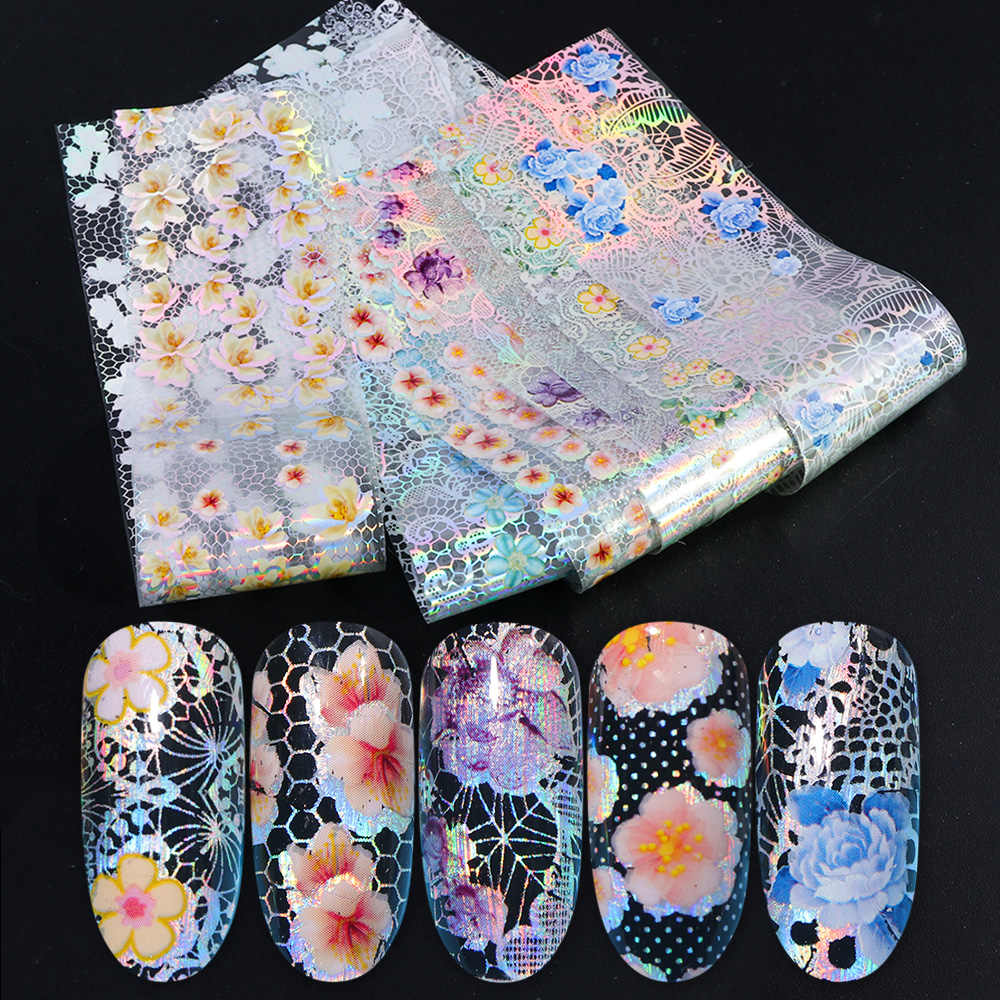 16pcs Nail Folie Set met Transfer Lijm Wit Kant Holografische Bloemen Sticker Nail Art UV Gel Volledige Wraps Decor manicure LA931-1