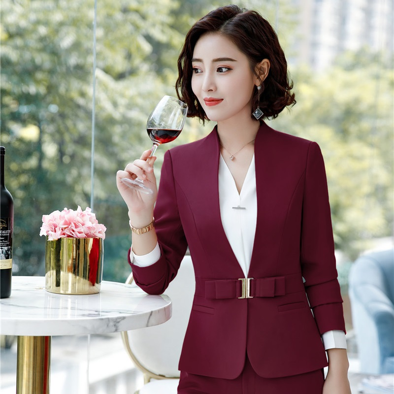 Fashion Wine Long Sleeved Formal Blazers And Jackets Coat For Business Women Female Tops Clothes Outwear Uniforms Designs
