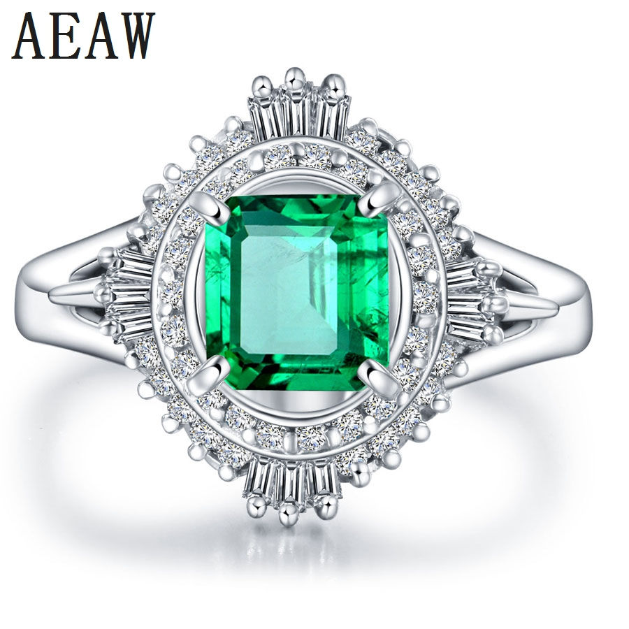 3.0CT Solid 14k White Gold AAA Colombian Emerald Engagement Ring Free shipping Lab Created Fine Green Emerald Perfect for Women