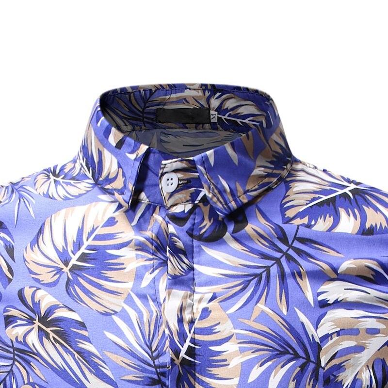 Floral Shirt Mens Summer Casual 3D Print Slim Fit Short-Sleeved Blouse Men 2019