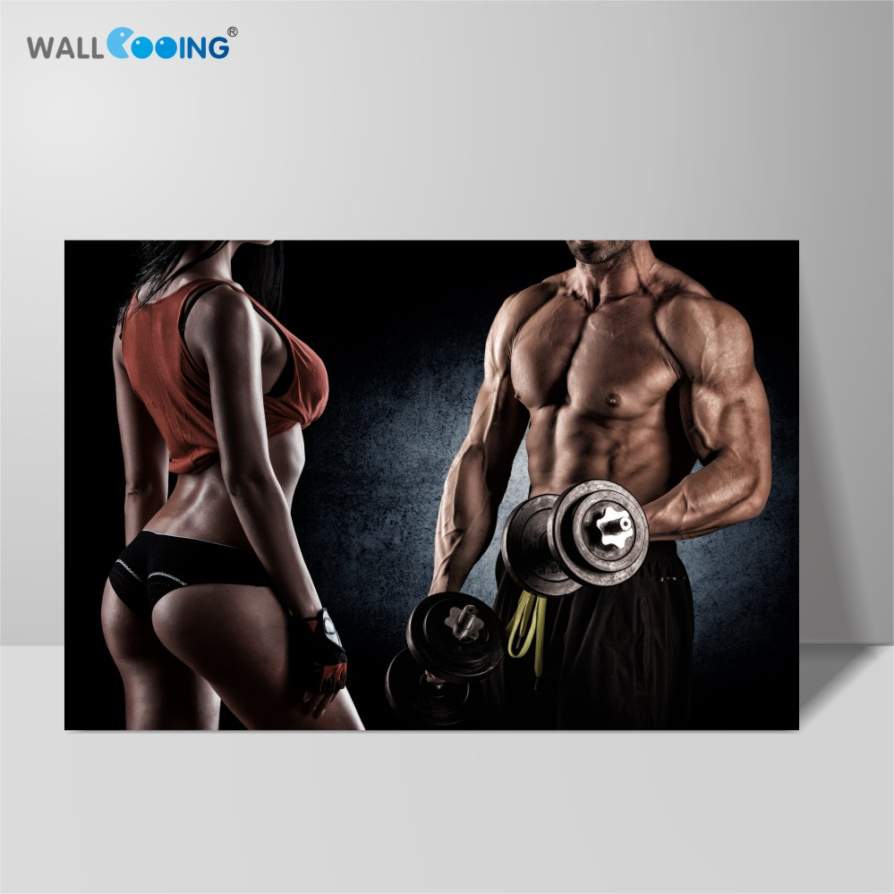 canvas prints wall decoration painted modern style <font><b>bild</b></font> gym posters decorative beautiful body beauty of the muscles WALL COOING image