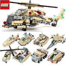 GUDI 8 in 1 Military Building Blocks Kids DIY Helicopters Fighters Tank model toys compatible legoe blocks gifts Toys for boys