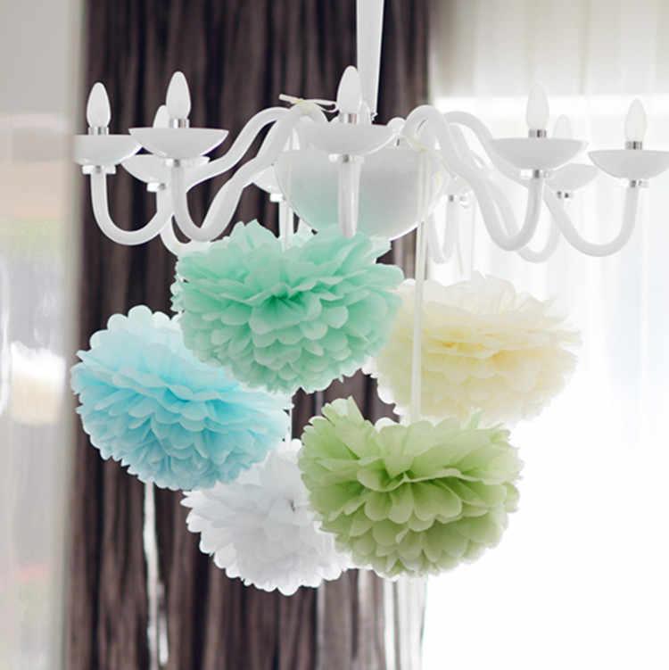 4 ''(10 см) тканевая бумага Pom Poms DIY ремесла белые бумажные цветы-шары помпон для дома сад Свадьба День рождения украшение