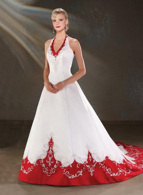 9f603029ee Elegante Embriodery vestidos boda árabes sirena del satén blanco y rojo  vestido de novia vestido de