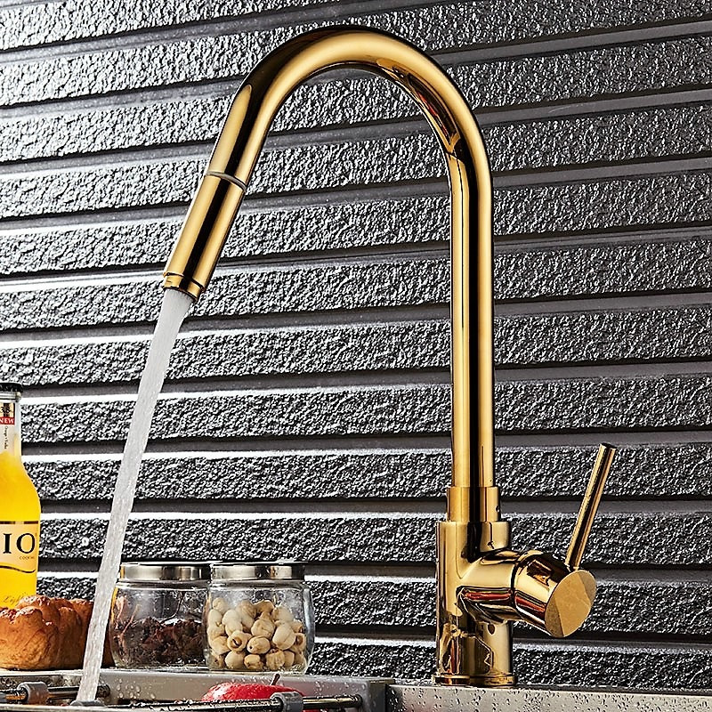 Sink Faucet Kitchen Faucet Pull Out Spout Kitchen Basin Faucet Golden/Black Sink Tap Single Lever Single Hole Hot Cold Mixer tapSink Faucet Kitchen Faucet Pull Out Spout Kitchen Basin Faucet Golden/Black Sink Tap Single Lever Single Hole Hot Cold Mixer tap