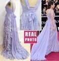 Violeta A Linha Chiffon Celebridade Vestidos Vestidos com Acentos Do Laço Sash Vestidos de Baile Lindos Vestidos de Festa À Noite