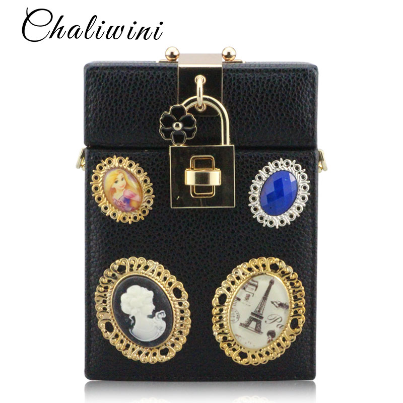 ChaliwinFashion Black Coffee Pu Clutch Chain Evening Bag Lock Box Clutch Bag Ladies Boutique Bags Packet Women Mini Box Handbags