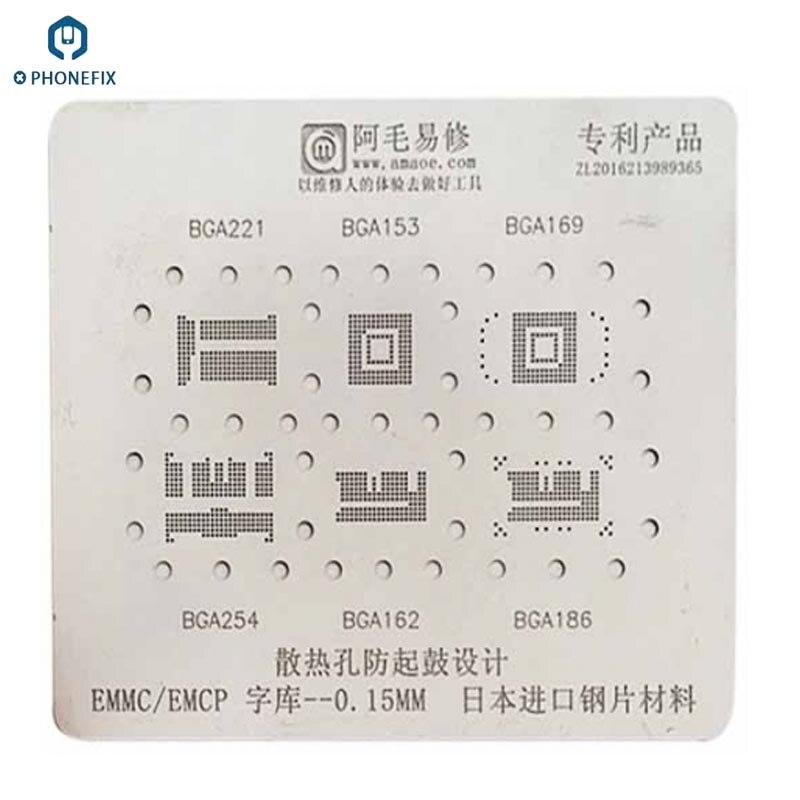 0.15 milímetros de Espessura 6in1 BGA Reballing Direto Aquecimento Stencil para EMMC fonte IC BGA221 BGA153 BGA169 BGA254 BGA162 BGA186