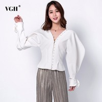 VGH Solid Slim Short Length Women's Shirt V Neck Long Lantern Sleeve Ruffles Button Clothing Top Female Fashion New 2019 Summer