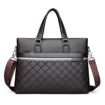 2018 новый роскошный мужской портфель из искусственной кожи, мужской дипломат сумка для бизнеса, сумки на плечо, мужская сумка-мессенджер, сум... >> Kayina Store