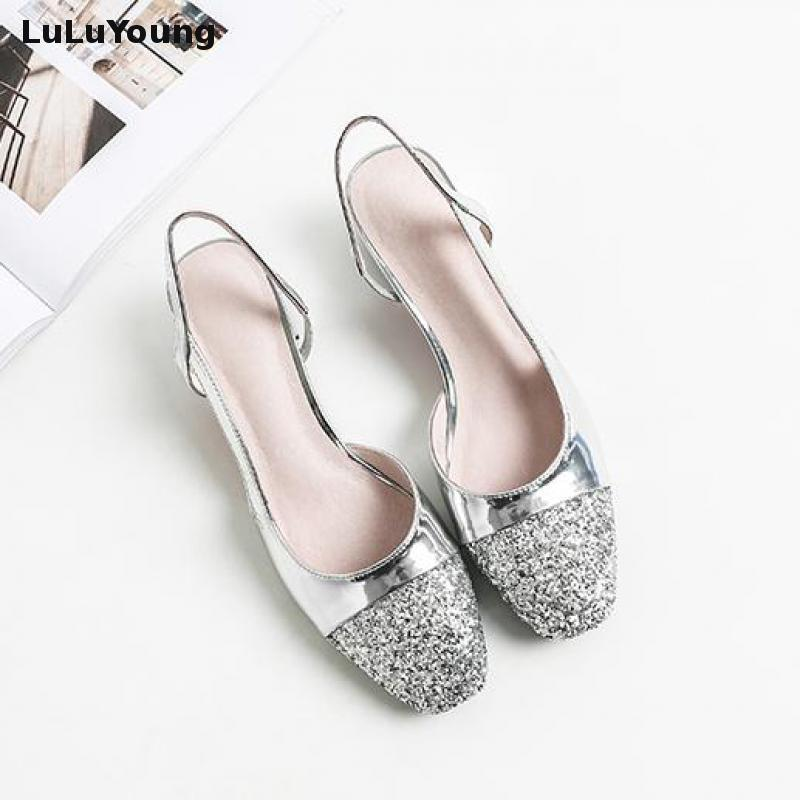 382525ce803 2018 New Square Heeled Sandals Sequins Shoes Women Low Heel Size 44 43 30 31-in  Women s Pumps from Shoes on Aliexpress.com