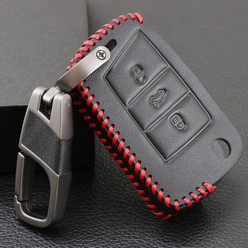Skórzane etui na klucze klucz pokrywa dla volkswagena VW Golf 7 GTI R MK7 Tiguan dla Skoda Octavia A7 Karoq dla Seat Leon Ibiza klucz Portect tanie i dobre opinie Genuine Leather + PU+ Zinc Alloy Keychain Black Leather+ Red Line FOR VW Polo (2016-2017) FOR VW Golf 7 GTI MK7 (2015-)