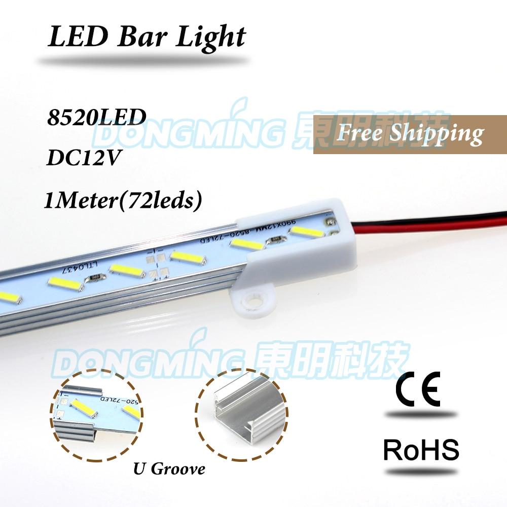20pcs LED Bar Light Non Waterproof 8520 SMD 72LED 100CM LED luces Strip DC 12V LED Tube Showcase Cabinet led U/V groove