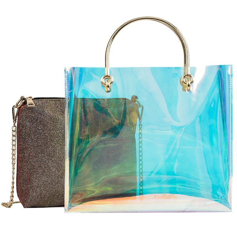 2 bags Laser Transparent Jelly Bag Womens Designer Handbag 2018 High-Quality Women Tote bags Lady Portable Chain Shoulder bags