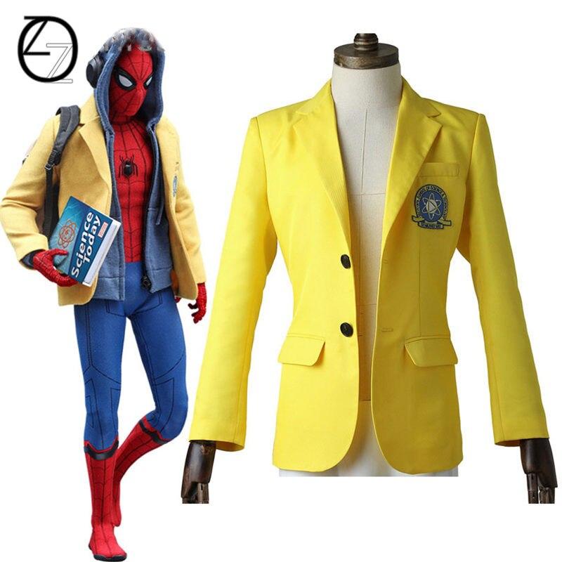 2017 фильм Человек-паук выпускников супергерой Человек-паук желтая куртка Человек-паук маскарадный костюм одежда на Хэллоуин Карнавальный К...