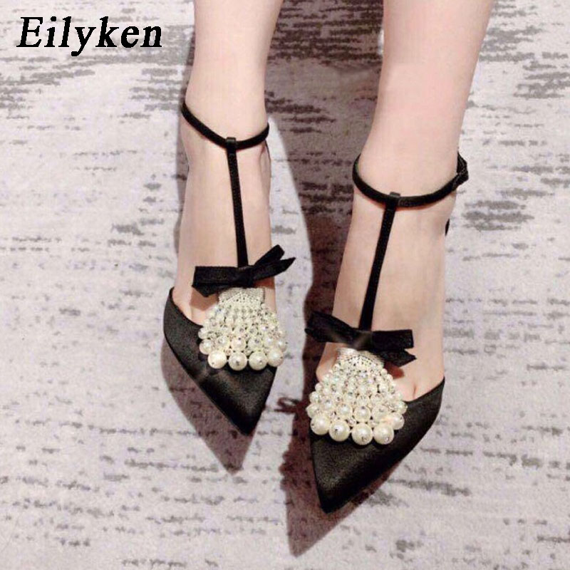 Eilyken Sexy Pointed Toe Butterfly-Knot String Bead Ladies Summer Shoes Ankle Buckle Strap Cover Heel High Heel Women Pumps