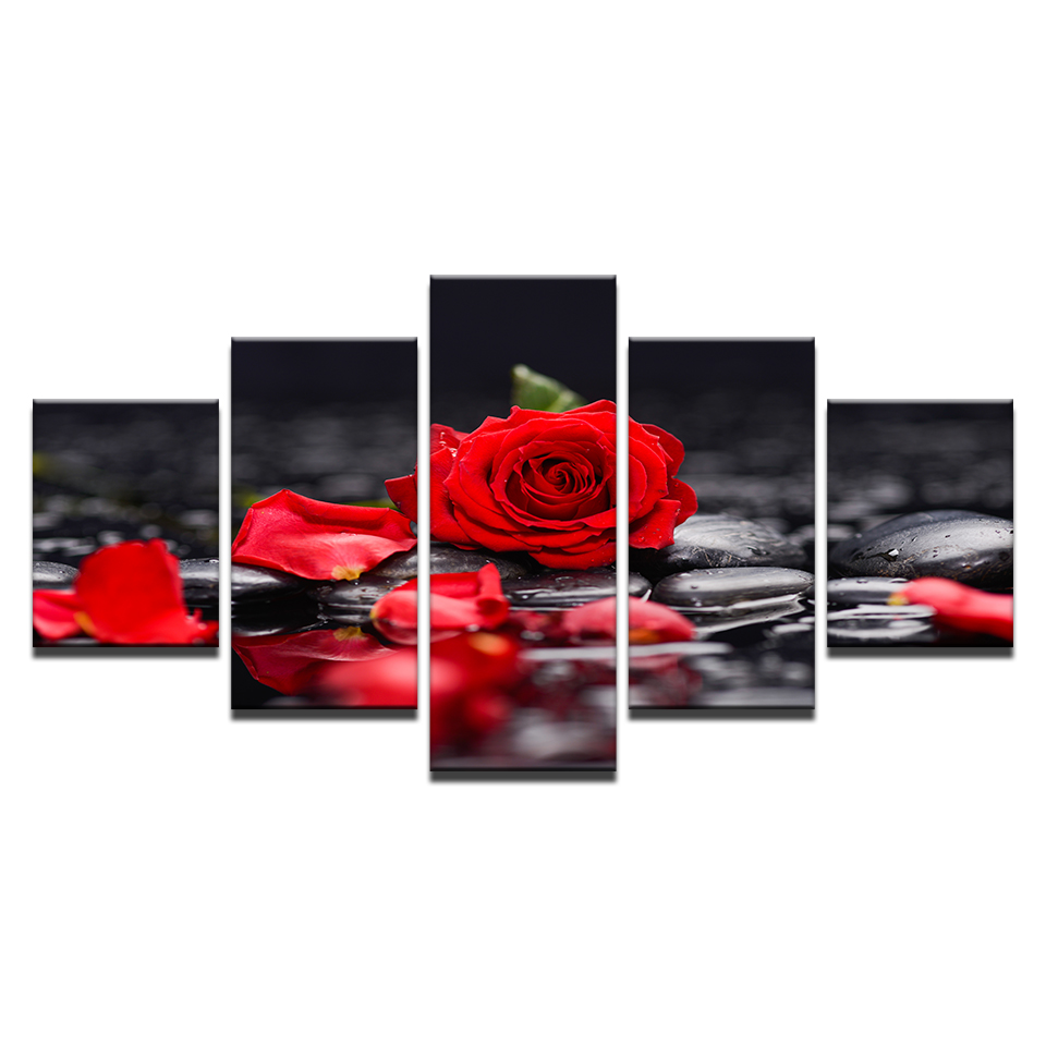 Canvas Paintings Home Decor Living Room Wall Art 5 Pieces Red Rose Flowers Pictures Modular Prints Stone Petal Poster Framework in Painting Calligraphy from Home Garden