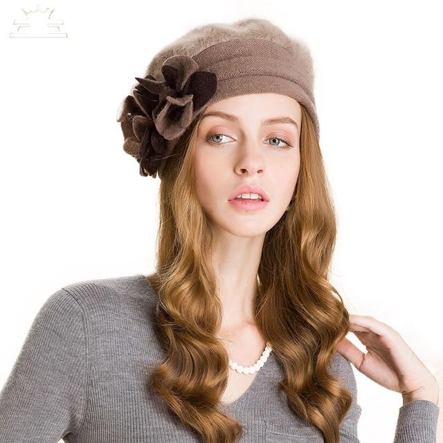 Winter Wool Fashion Khaki Women Flower Warm Caps Casual Beanies 2