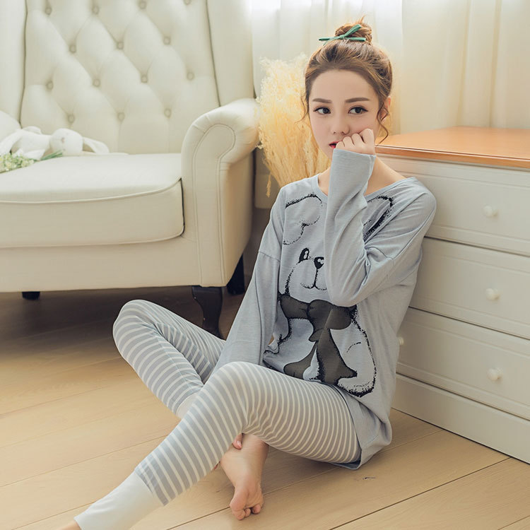 Womens Pajamas Sets 2019 Summer Round Neck Cartoon Kawaii Totoro Cartoon Sleepwear Nighty Female Casual Autumn Winter Pajamas 24