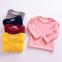 лучшая цена 2018 Children Autumn Winter Baby Girls T-Shirt Cotton Long Sleeve Velvet Sweatshirt  Casual Pullover Kids Boys Girls Clothing