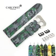 CARLYWET 22 24mm Camo Grey Light Green Black Waterproof Silicone Rubber Replacement Watch Band Strap For Panerai Luminor carlywet 22 24mm top quality luxury camo waterproof silicone rubber replacement wrist watch band loops strap for panerai luminor
