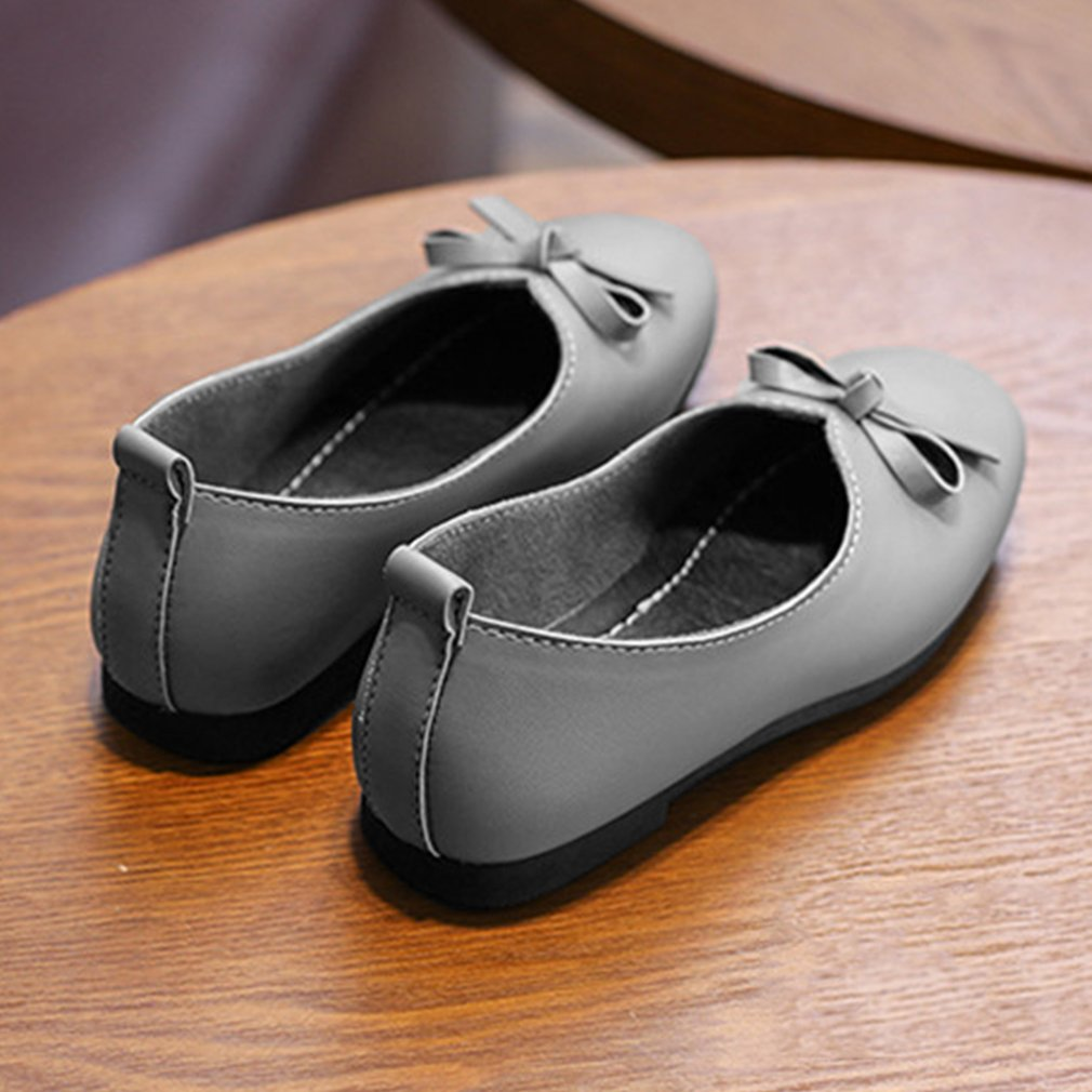 Fashion Casual Nude Girls Shoes Bowknot Flat Heels With Low Cut Design Soft Outsole -7128